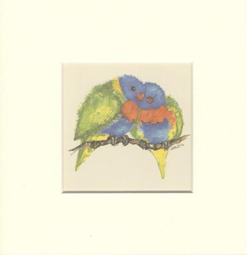 Rainbow Lorikeet Matted Print, Artwork by Lesley Davies