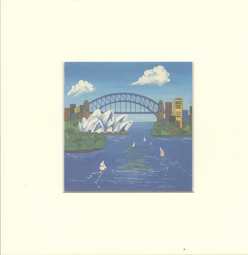 Matted Print, Sydney Harbour artwork by Lesley Davies