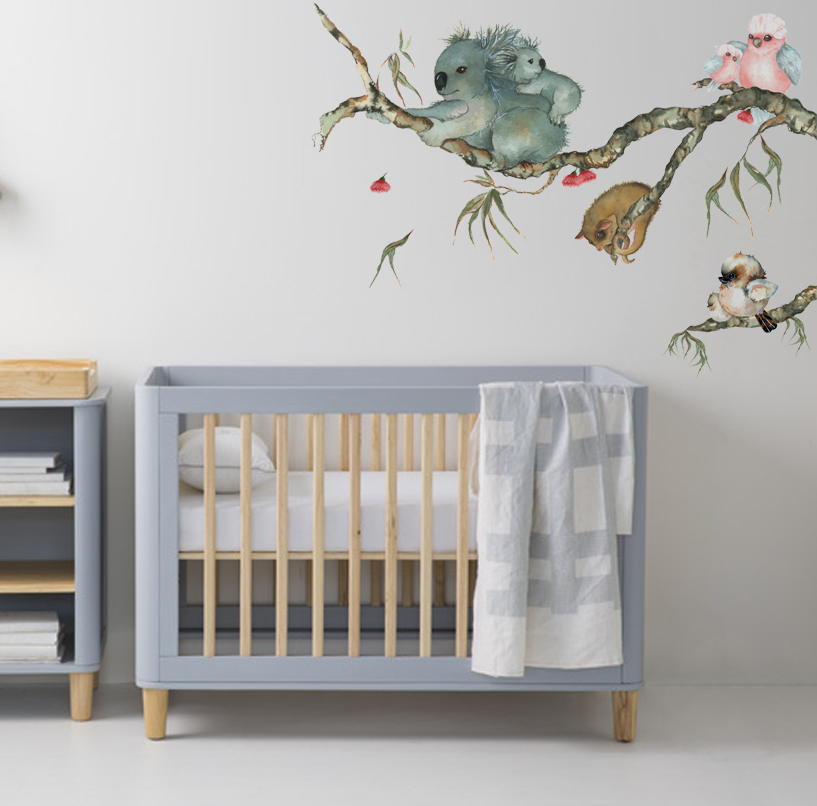 australian animals nursery removable wall sticker branch