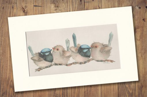 Blue Wren Print Medium