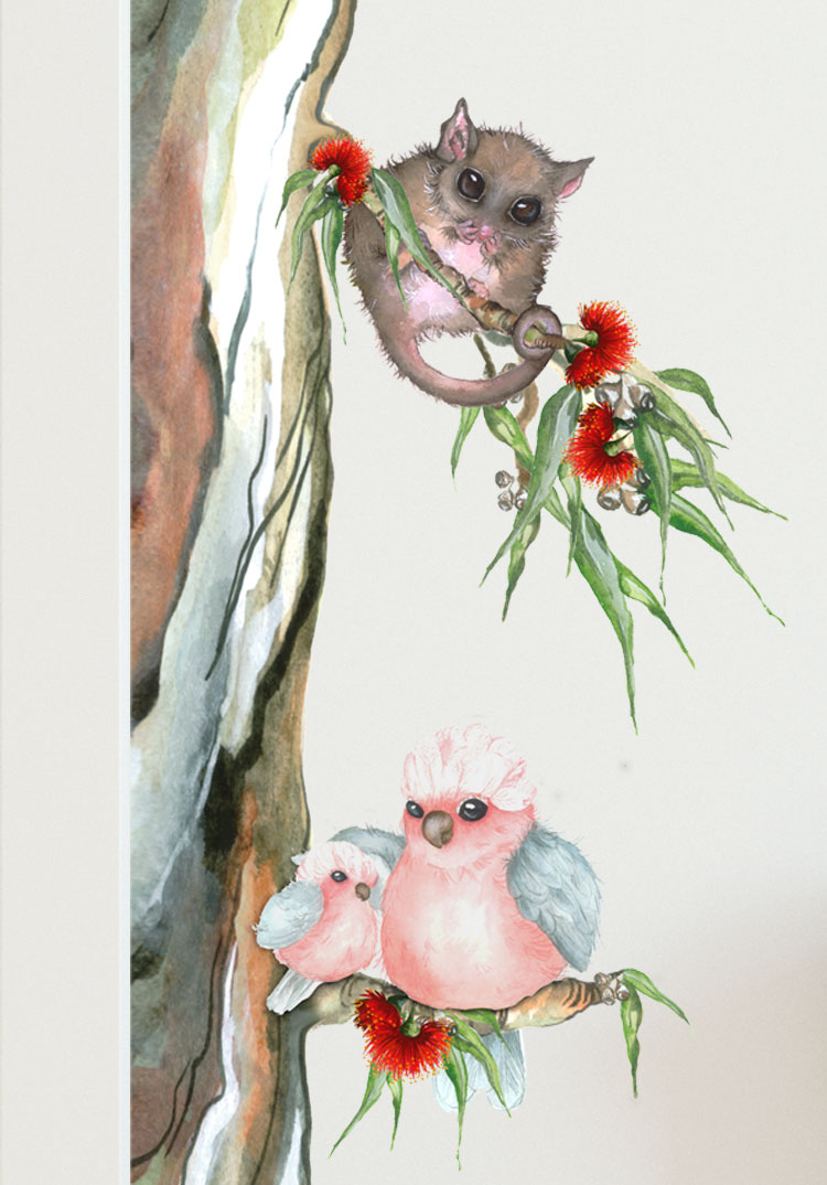 Australian Animals Nursery Wall Sticker Water Colour Tree