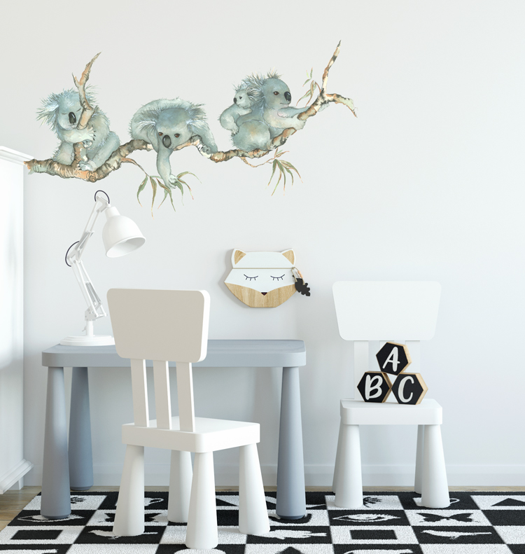 koala wall sticker branch - removable and reusable