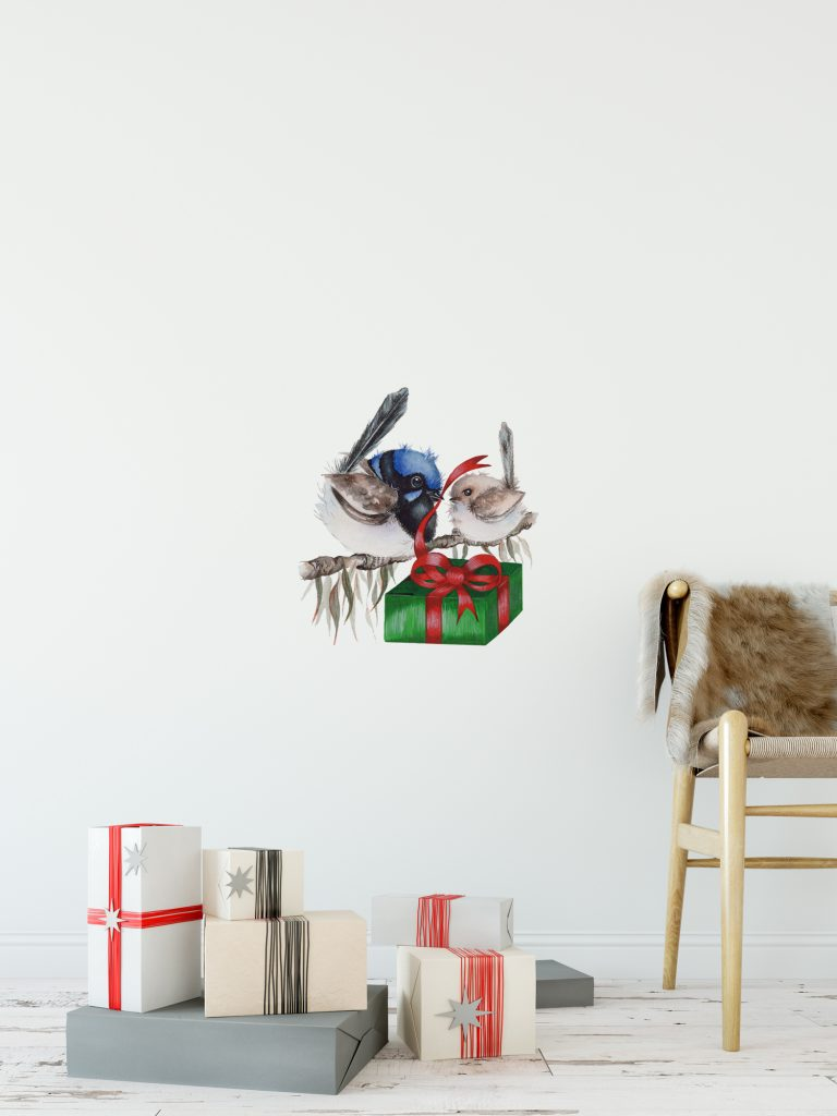 Christmas Blue Wren and Baby Wall Sticker