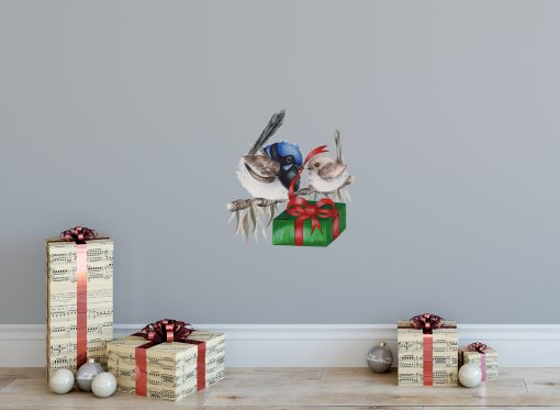 Christmas Blue Wren Wall Sticker