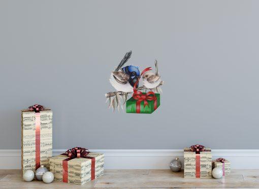 Christmas Blue Wren Wall Sticker