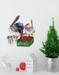 Blue Wren with Baby Wall Sticker