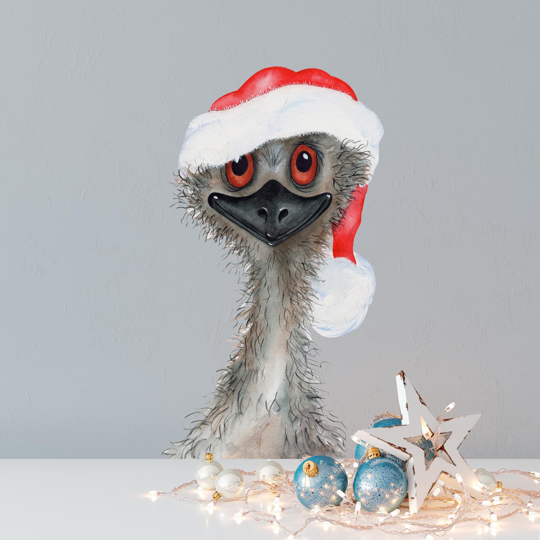 Christmas emu wall sticker - removable and reusable
