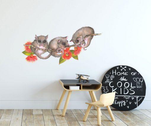 3 possums branch wall sticker 1