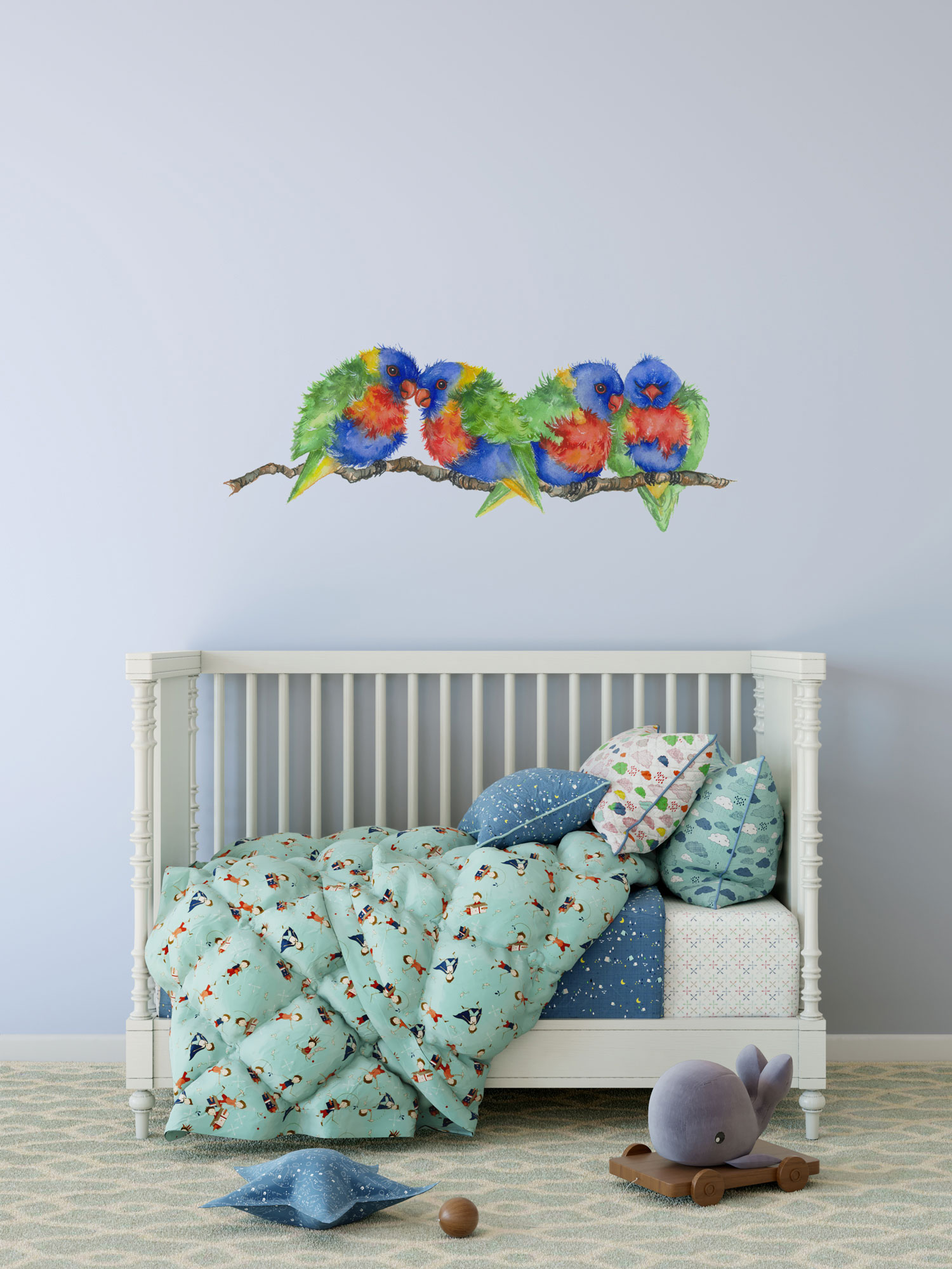 Rainbow Lorikeet Branch Wall Sticker - Removable and Reusable