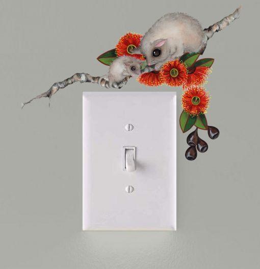 Possum Light Switch Wall Sticker Decal