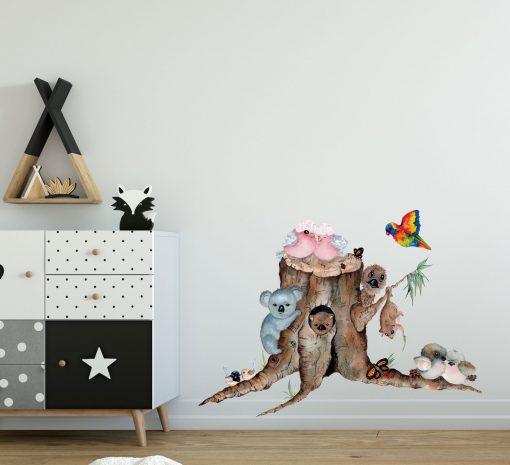 Aussie Babies Tree Stump Wall Sticker