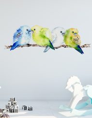 Budgerigar Branch Wall Sticker