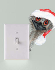 Peeking Christmas Emu Light Switch Wall Sticker