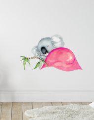 Sleepy Koala Wall Sticker Pink