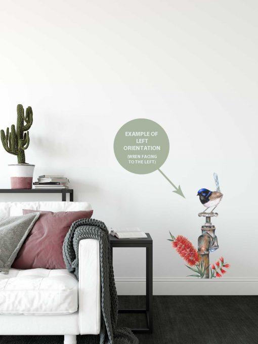 Blue Wren on Tap Wall Sticker
