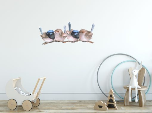 Blue Wrens On Branch Nursery Wall Sticker