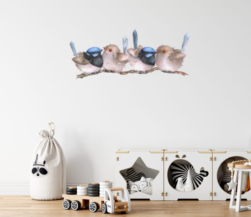 Blue Wrens on A Branch Wall Sticker