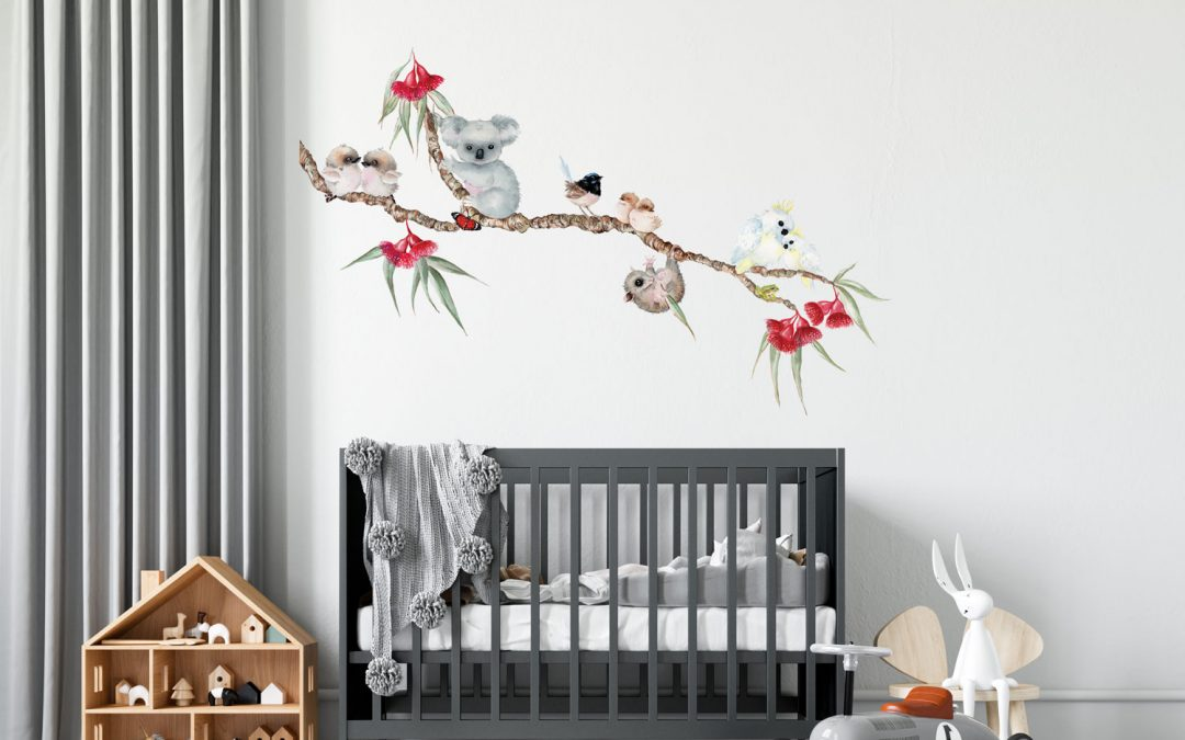 Aussie Bush Babies Branch Wall Sticker - Removable Wall Decals Australia