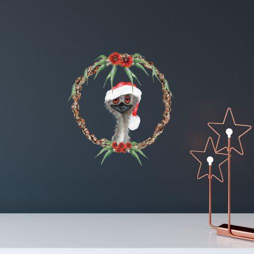 Emu Christmas Wreath Wall Sticker