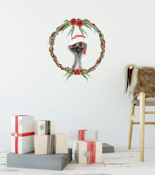 Emu Christmas Wreath Wall Sticker