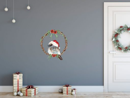 Kookaburra Christmas Wreath Wall Sticker