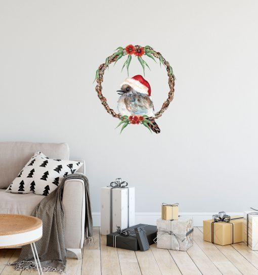 Kookaburra Christmas Wreath Wall Sticker