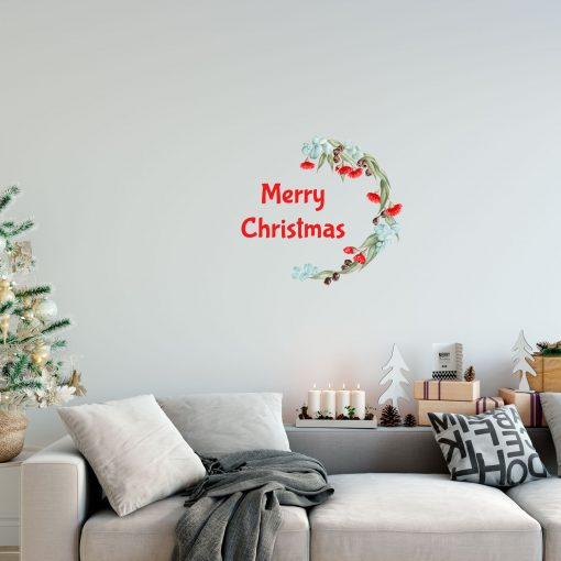 Merry Christmas Wreath Wall Sticker