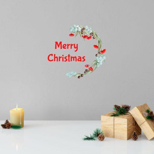 Merry Christmas Wreath Wall Sticker