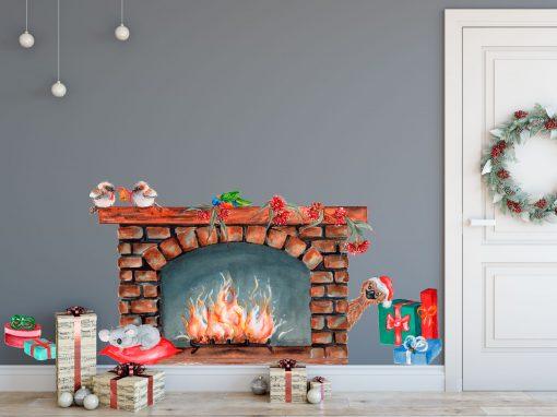 Christmas Fireplace Wall Sticker