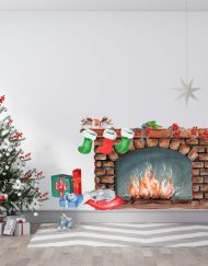 Christmas Fireplace Wall Sticker