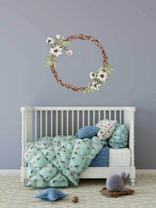 Flannel Flower Wreath Wall Sticker